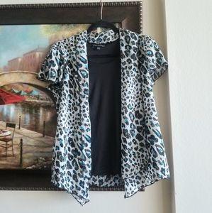 Turquoise, Black, and White Cheetah Print Tank